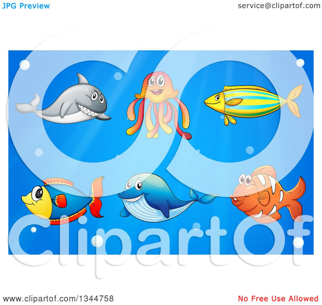 Clipart of Marine Salt Water Fish and Sea Creatures over Blue.