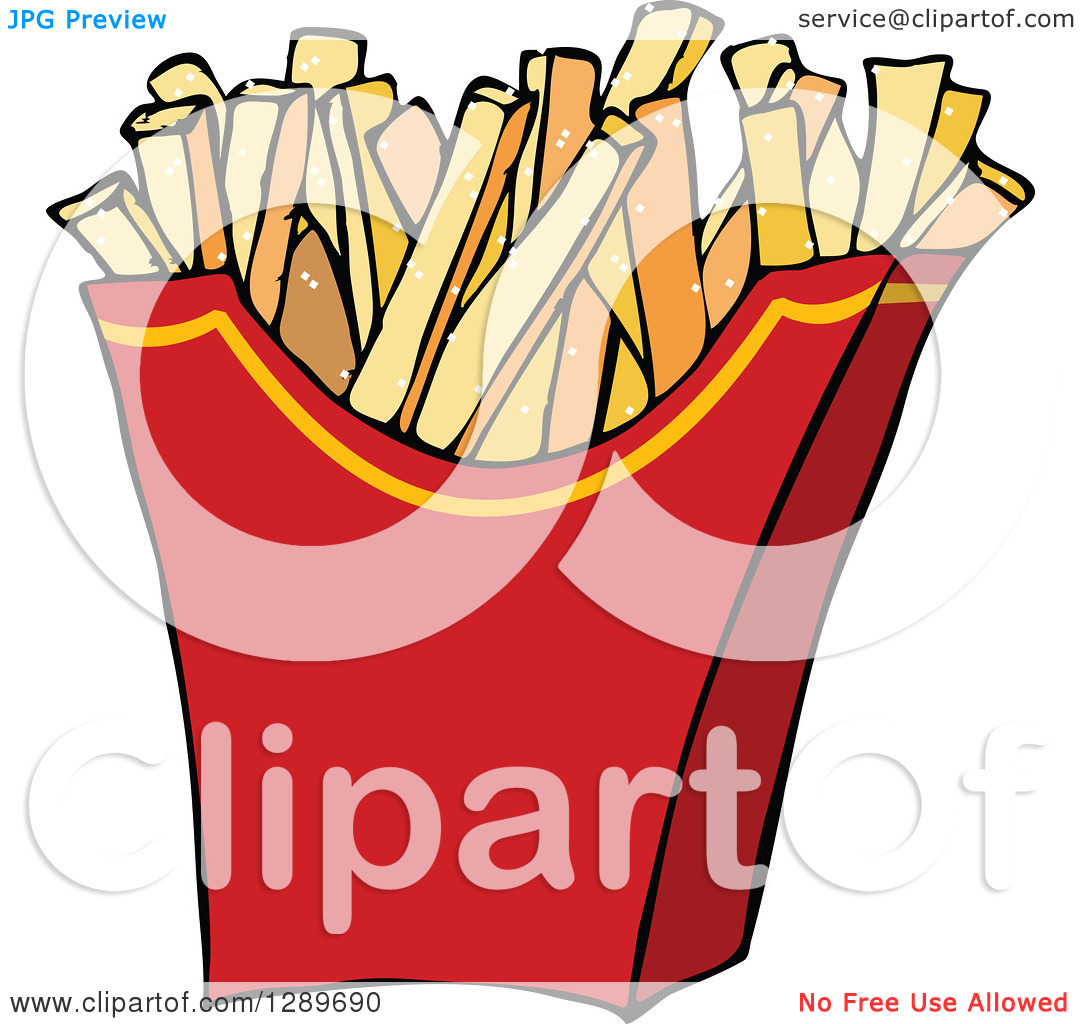 Clipart of a Red Carton of Salted French Fries.