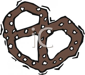Picture of a Salted Pretzel In a Vector Clip Art Illustration.