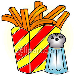 Fries and a Salt Shaker Royalty Free Clipart Picture.