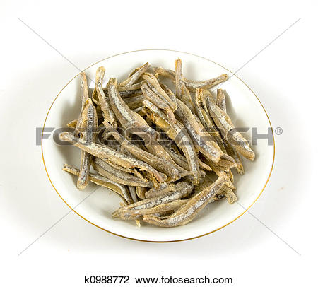 Stock Photo of Salter anchovy on a plate isolated k0988772.
