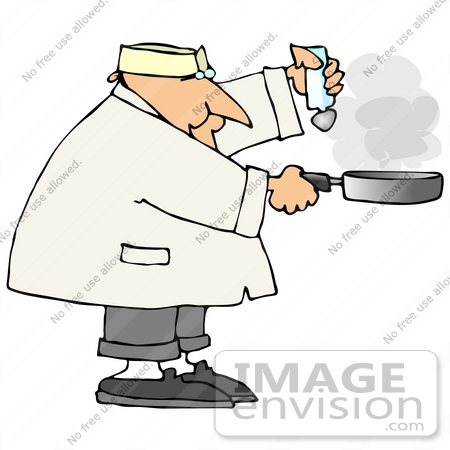 Male Chef Salting Food in a Frying Pan People Clipart.