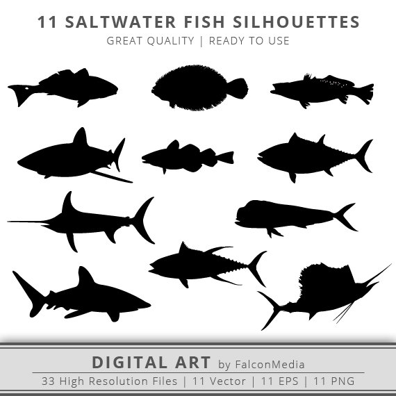 11 Saltwater Fish Silhouettes Clip Art Cut Files Instant.