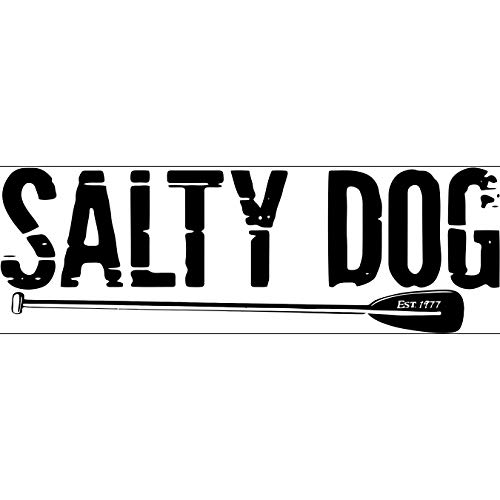 Salty Dog Paddle 9 Inch White Logo Removable Decal Bumper Sticker.