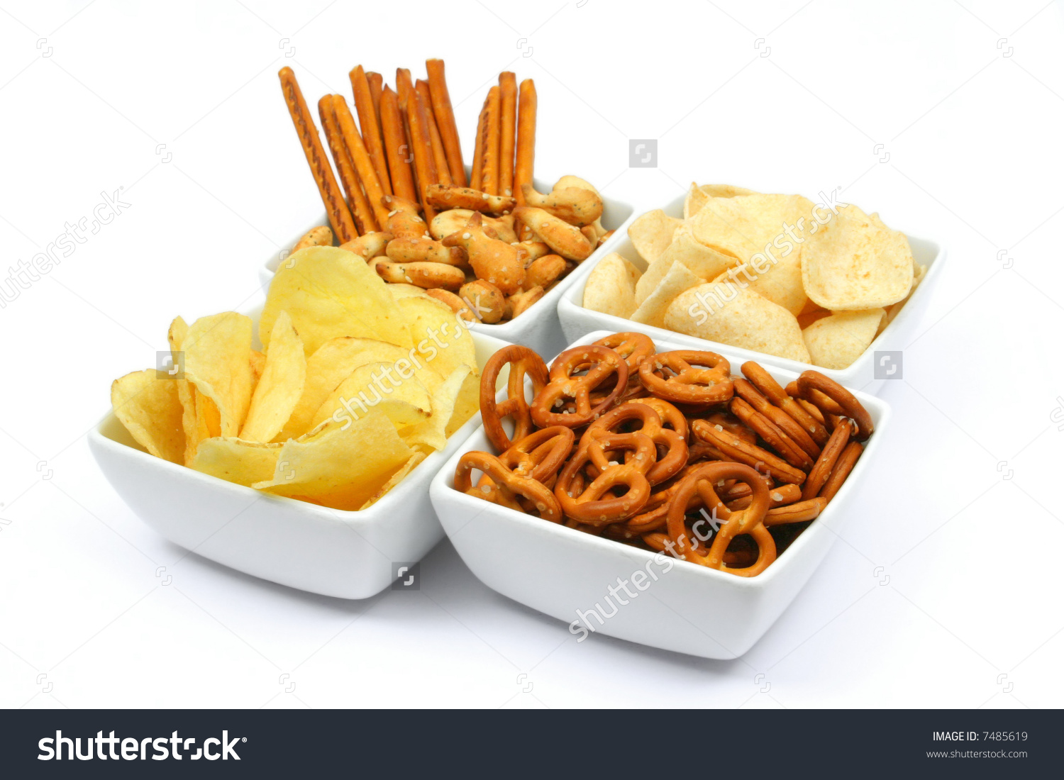 Salty Snacks Square Bowls Isolated On Stock Photo 7485619.