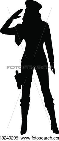 Clipart of Saluting Military Woman Silhouette k18240295.