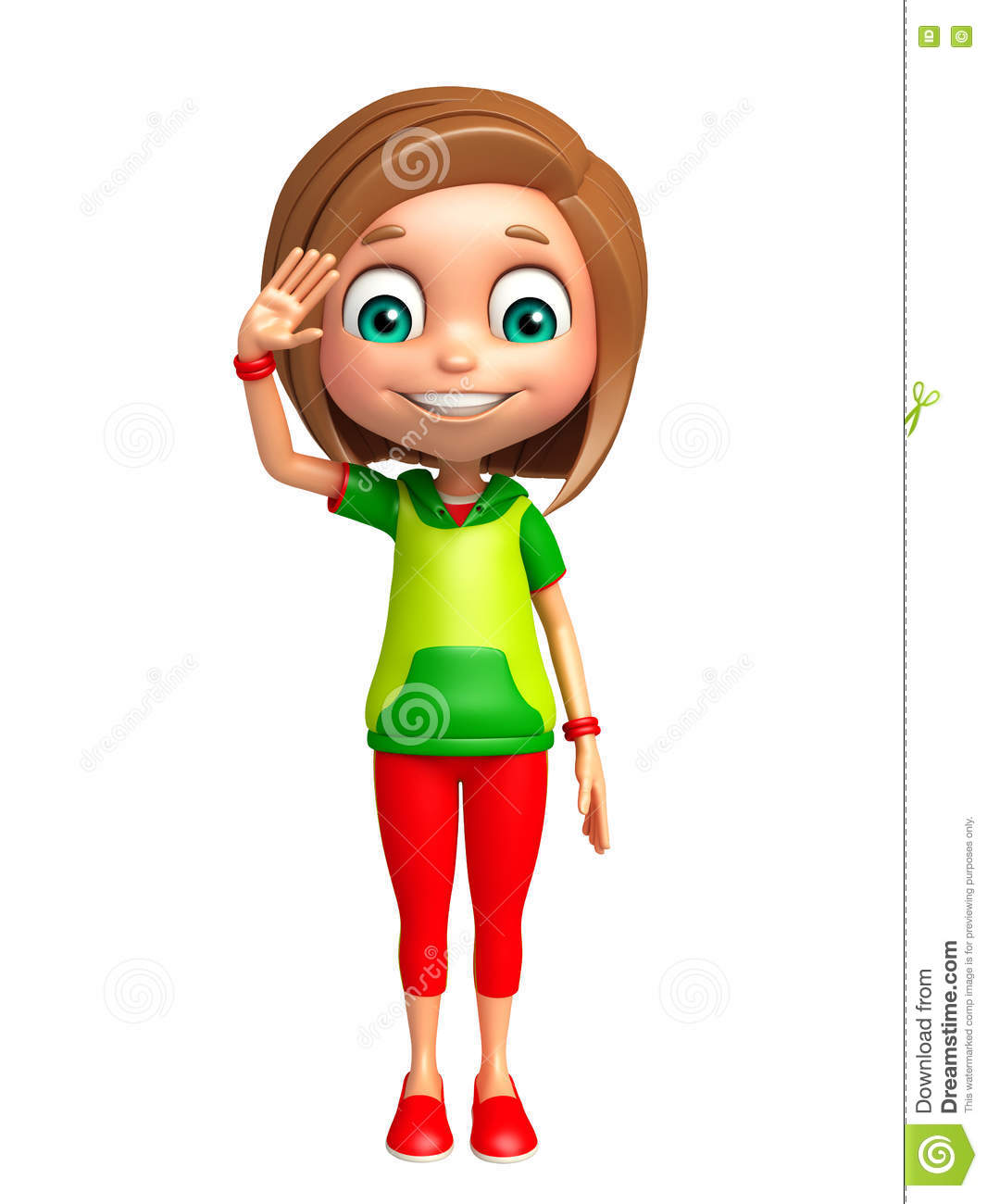 Kid Girl With Salute Pose Stock Illustration.