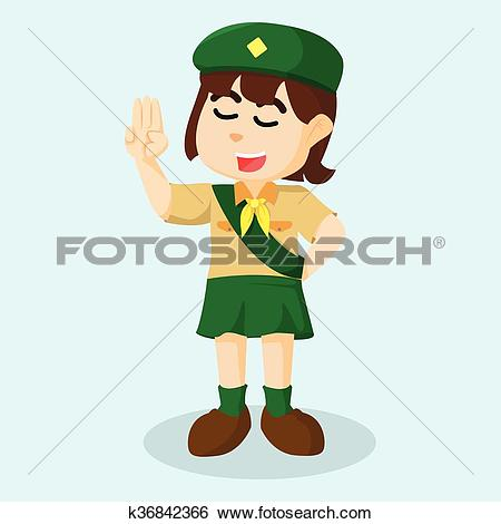 Clip Art of Girl scout salute k36842366.