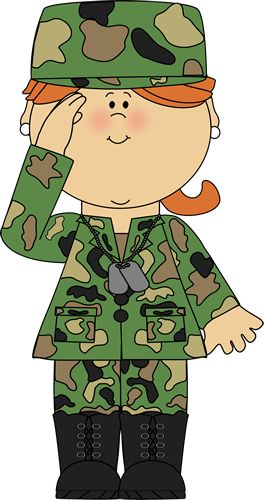 Military Girl Saluting Clip Art.