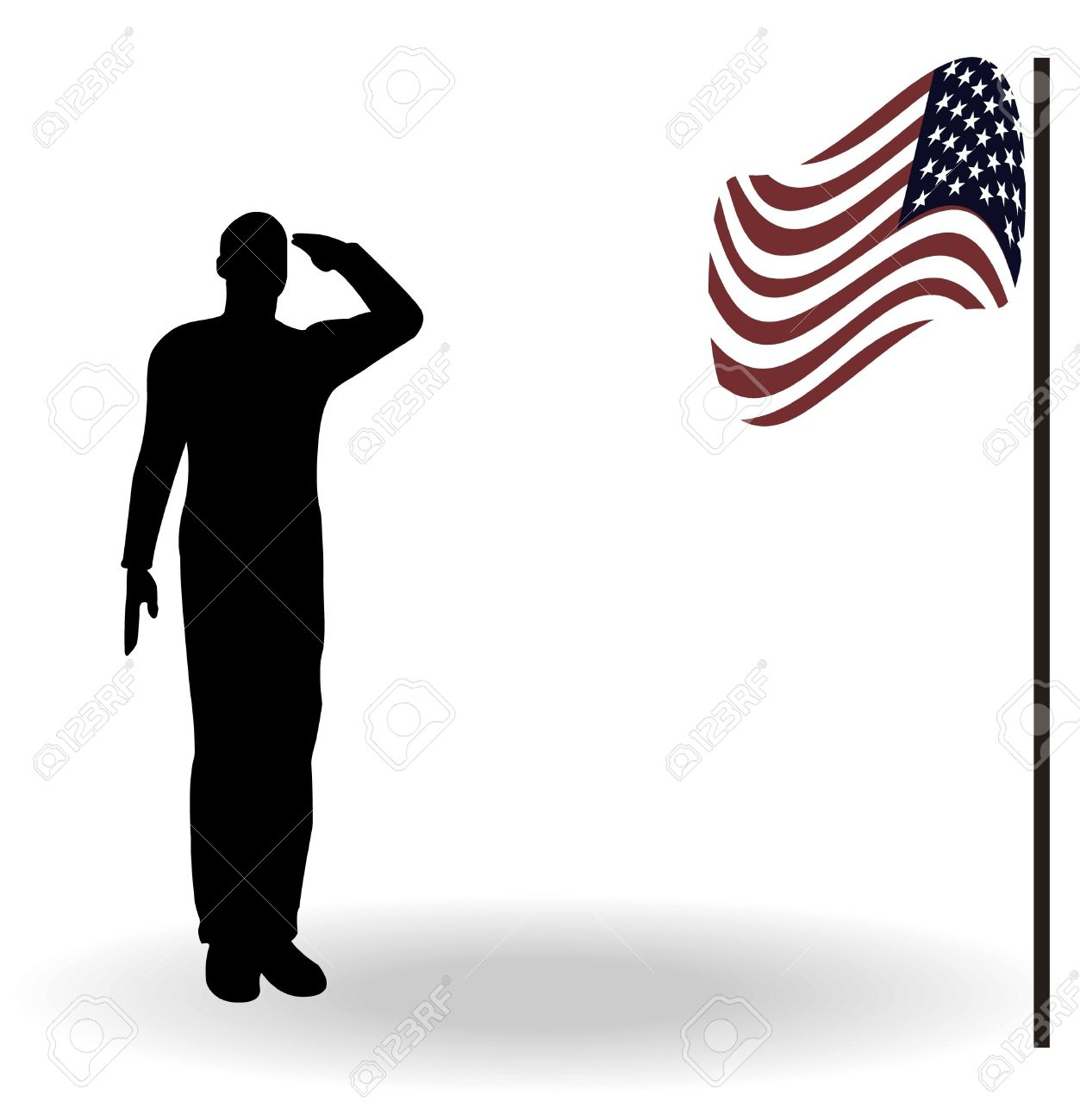 Soldier saluting flag clipart.