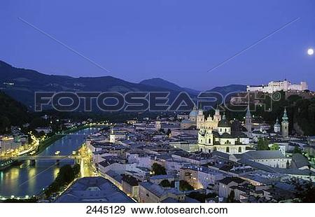 Stock Photograph of Town with castle in background, Salzach River.