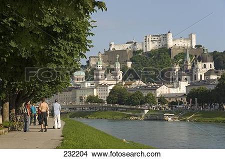 Stock Photo of Festung Hohensalzburg and Salzach river, Salzburg.
