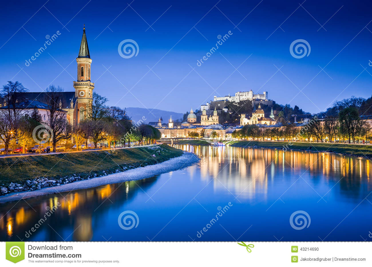 Salzburg Skyline With Salzach River At Blue Hour, Austria Stock.