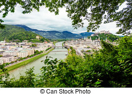 Stock Photography of Salzach River in Salzburg, Austria. Famous.