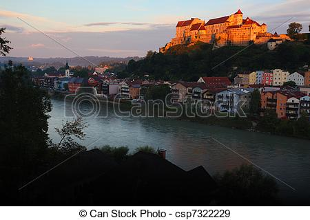 Stock Photographs of Morning view of Burghausen above the river.