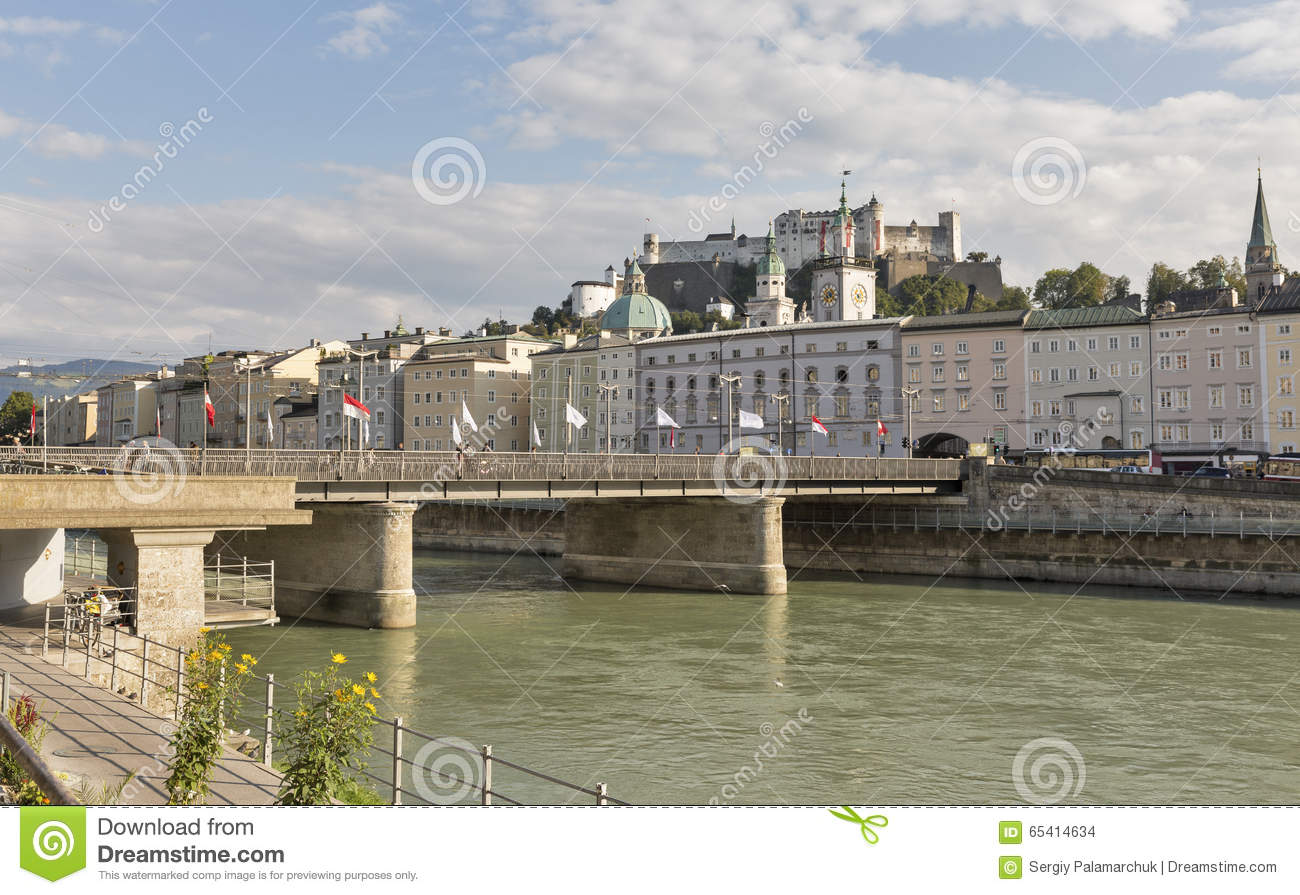 Salzach River, Staatsbrucke Bridge And Fortress In Salzburg.