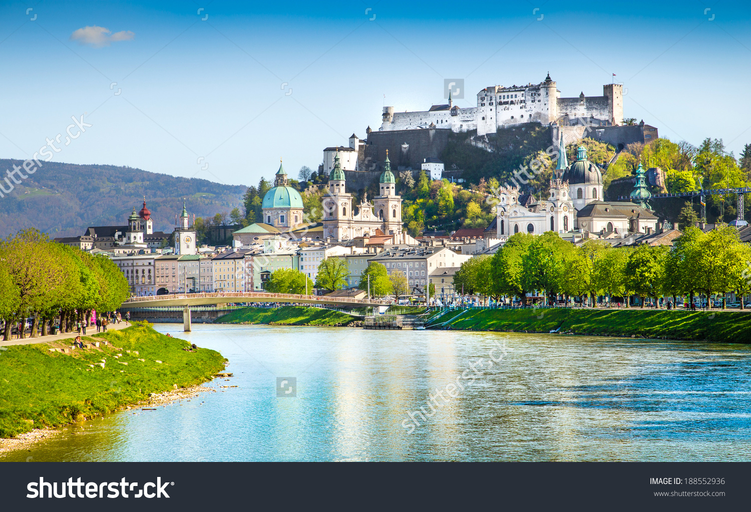 Beautiful View Salzburg Skyline Festung Hohensalzburg Stock Photo.