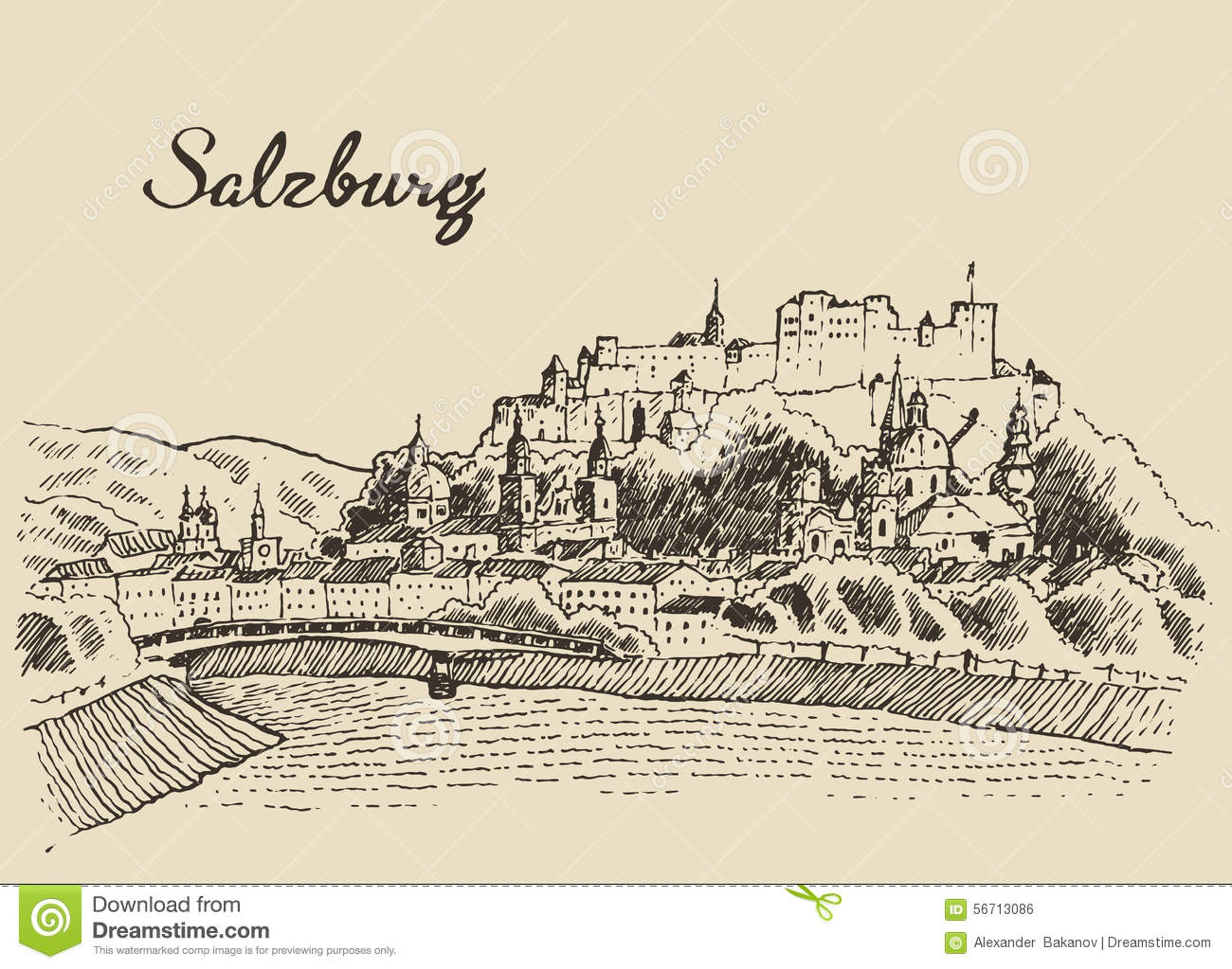 Salzburg Skyline Austria Vintage Hand Drawn Sketch Stock Vector.