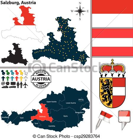 Clip Art Vector of Map of Salzburg, Austria.