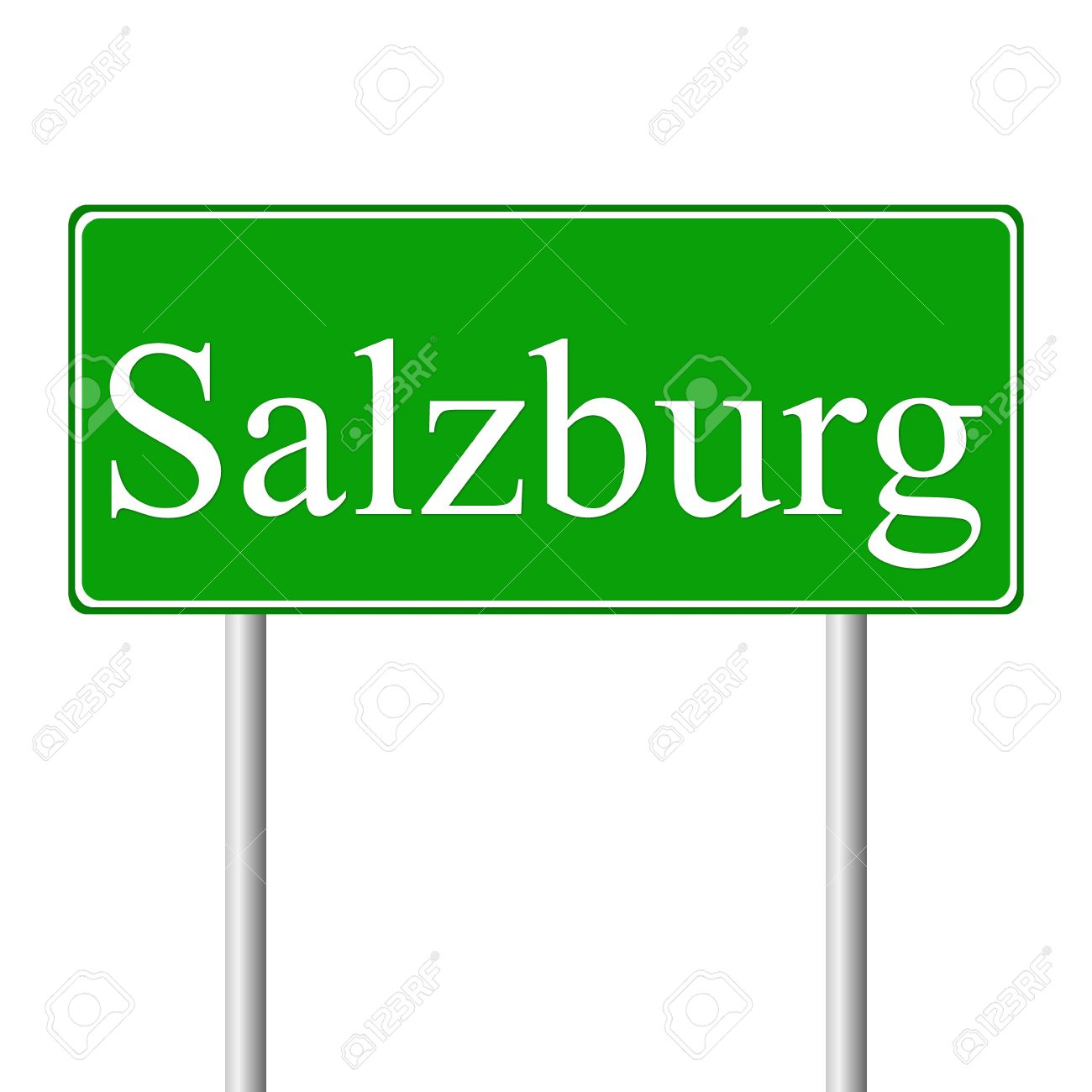 Salzburg Green Road Sign Isolated On White Background Royalty Free.