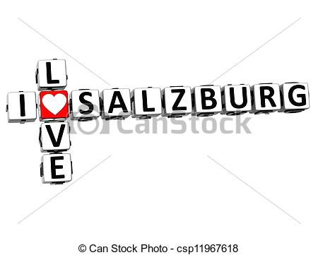 Clipart of 3D I Love Salzburg Crossword on white background.