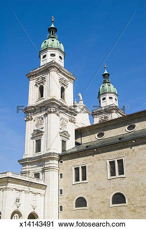 Stock Photography of Clock Tower, Salzburg Cathedral, Salzburg.