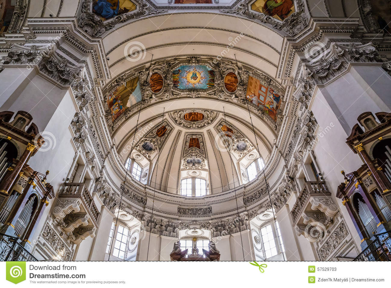 Inside View Of Salzburg Cathedral Dome.