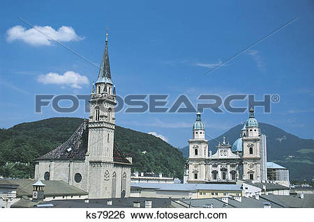 Stock Images of St. Peter's Cathedral and Salzburg Cathedral.