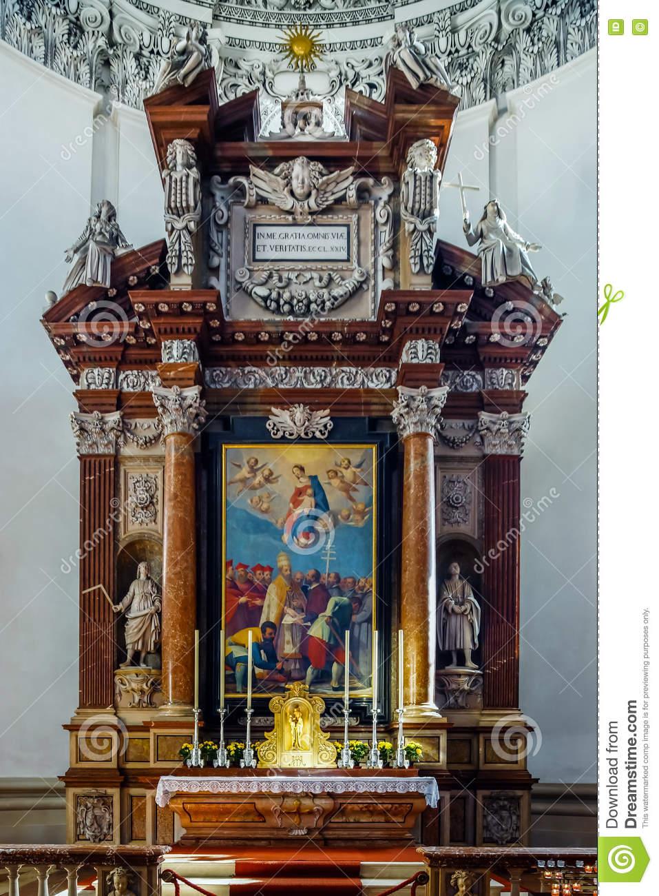 Beautiful Baroque Interior Of Salzburg Cathedral Stock Photo.