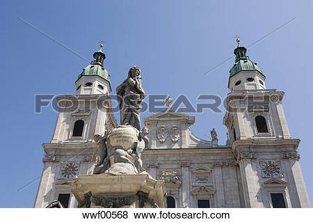 Pictures of Austria, Salzburg Cathedral and statue of the Virgin.