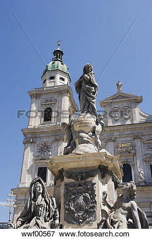 Picture of Austria, Salzburg Cathedral and statue of the Virgin.