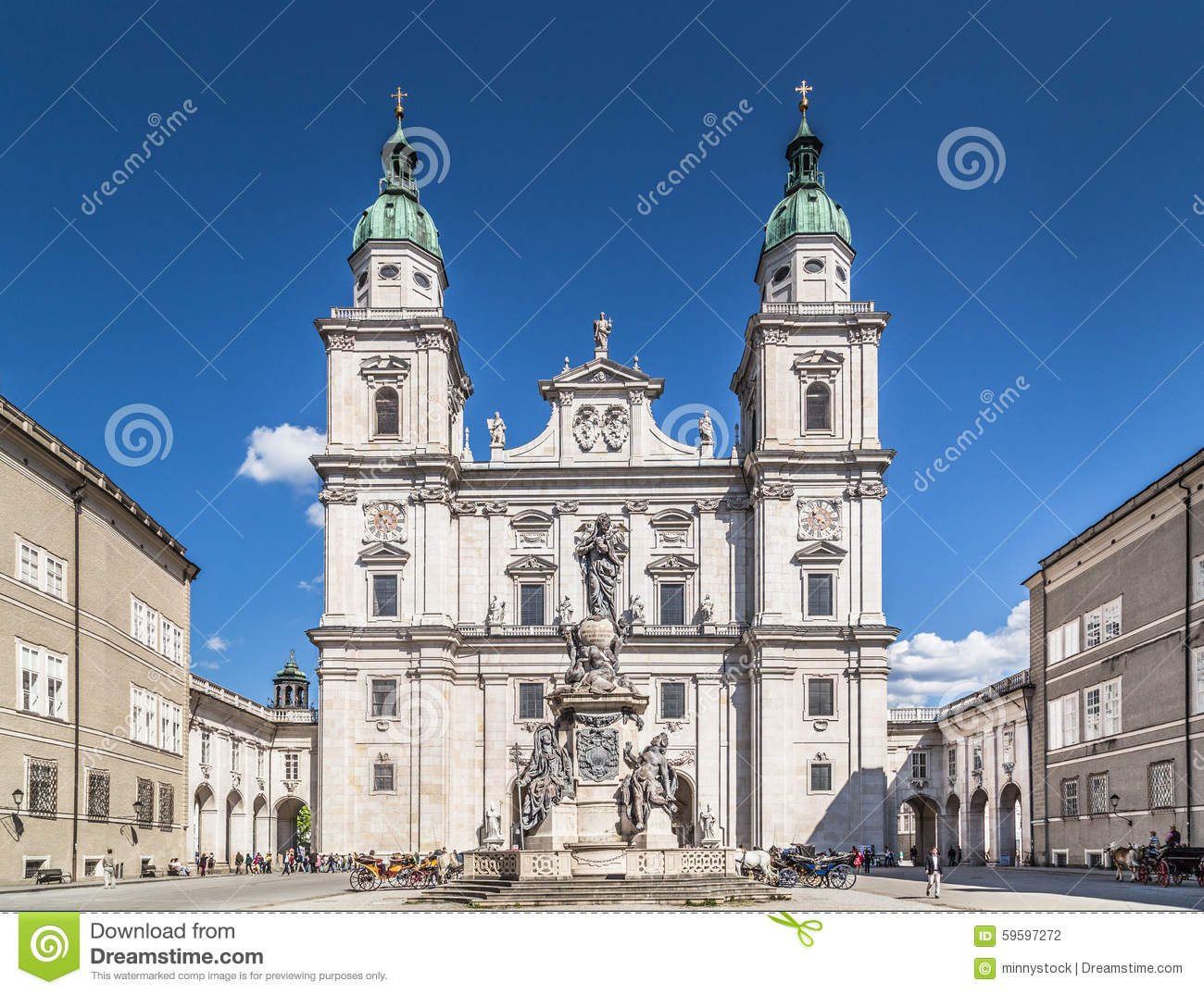 Historic Salzburg Cathedral At Domplatz, Salzburg, Austria.
