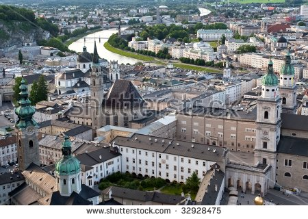 Salzburg City Church River Salzach Snow Stock Photo 68592109.