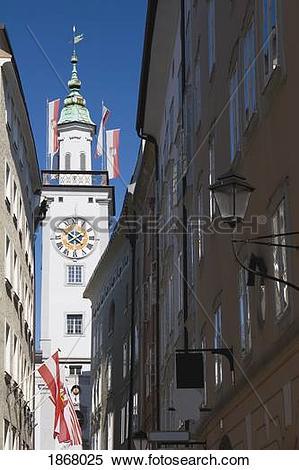 Stock Image of clock tower from a street, salzburg, salzburger.