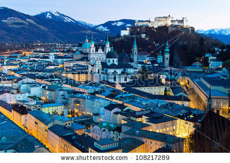 Austria Salzburg City View Hohensalzburg Stock Photo 50987272.