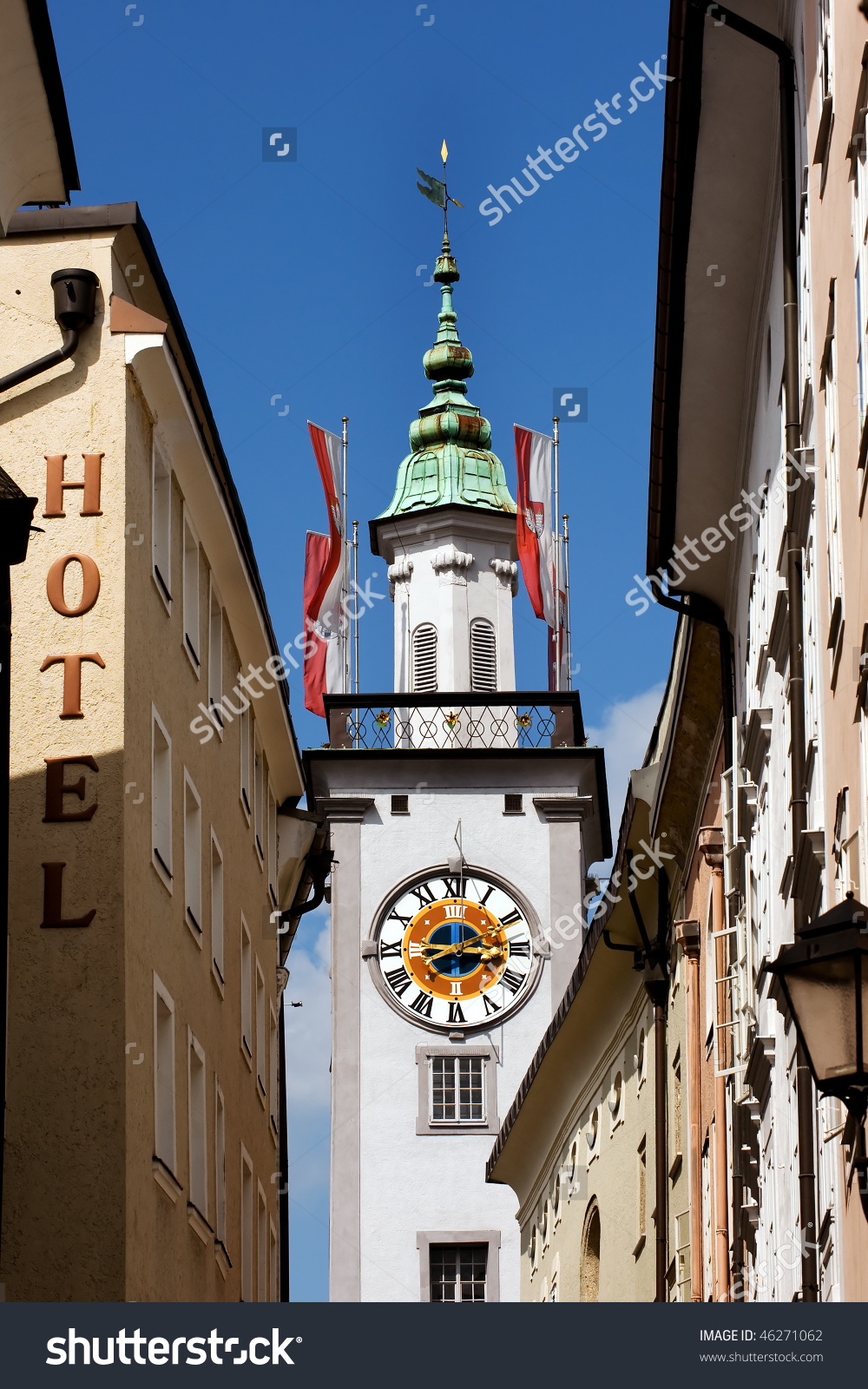 Clock Tower Of Old Town Hall In Salzburg Stock Photo 46271062.