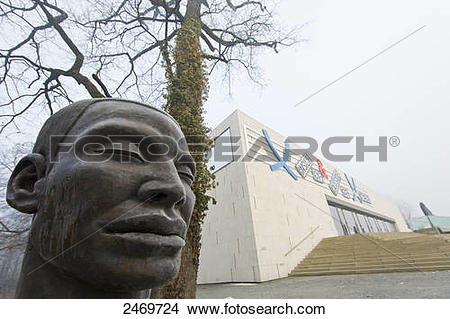 Stock Photo of Statue of human head in art museum, Moenchsberg.