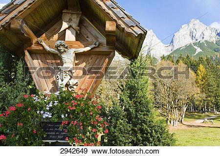 Stock Photograph of Wegkreuz, Werfener Hochthron, Pongau, Austria.