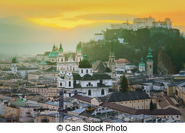 Pictures of Panoramic view of Salzburg, Salzburger Land, Austria.
