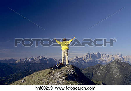 Stock Photograph of Austria, Salzburger Land, man standing on top.