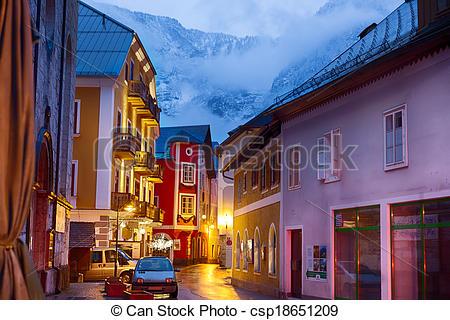 Stock Photography of Village of Hallstatt at dusk, Salzburger Land.