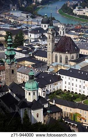 Stock Photography of Austria, Salzburg, Old Town, aerial view.