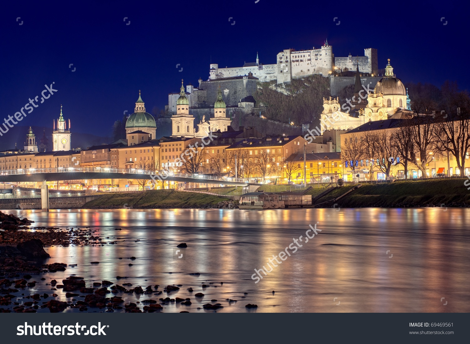 Night View Salzburg Old Town Austria Stock Photo 69469561.