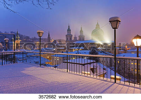 Stock Photo of Old town with Dome in winter, Salzburg, Austria.