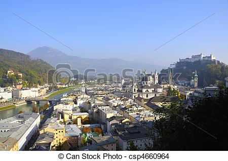 Stock Photo of View on the old town of Salzburg in Austria.
