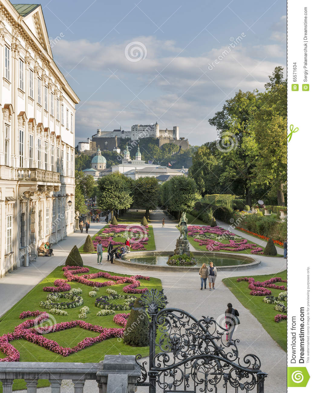 Gardens Of Mirabell In Salzburg Old Town, Austria Editorial Stock.