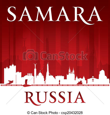 Vector Illustration of Samara Russia city skyline silhouette red.