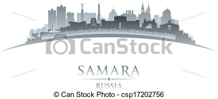 Clipart Vector of Samara Russia city skyline silhouette white.