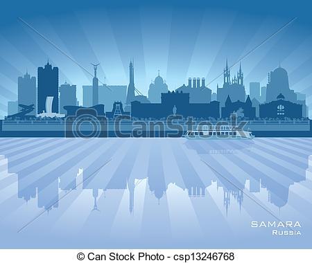 Clip Art Vector of Samara Russia skyline city silhouette Vector.