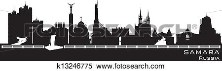 Clipart of Samara Russia city skyline Detailed silhouette.